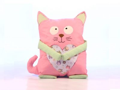 Handmade decorative pillow pink cat with owls