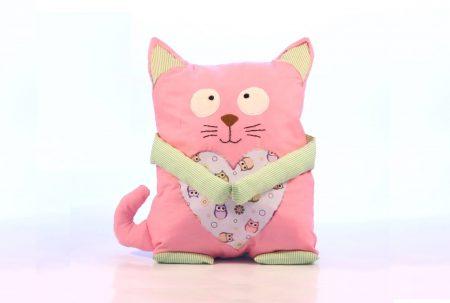 Pernă decorativă handmade Pisică roz cu bufniţe