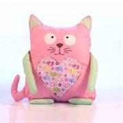 Pernă decorativă handmade Pisică roz cu elefănţei