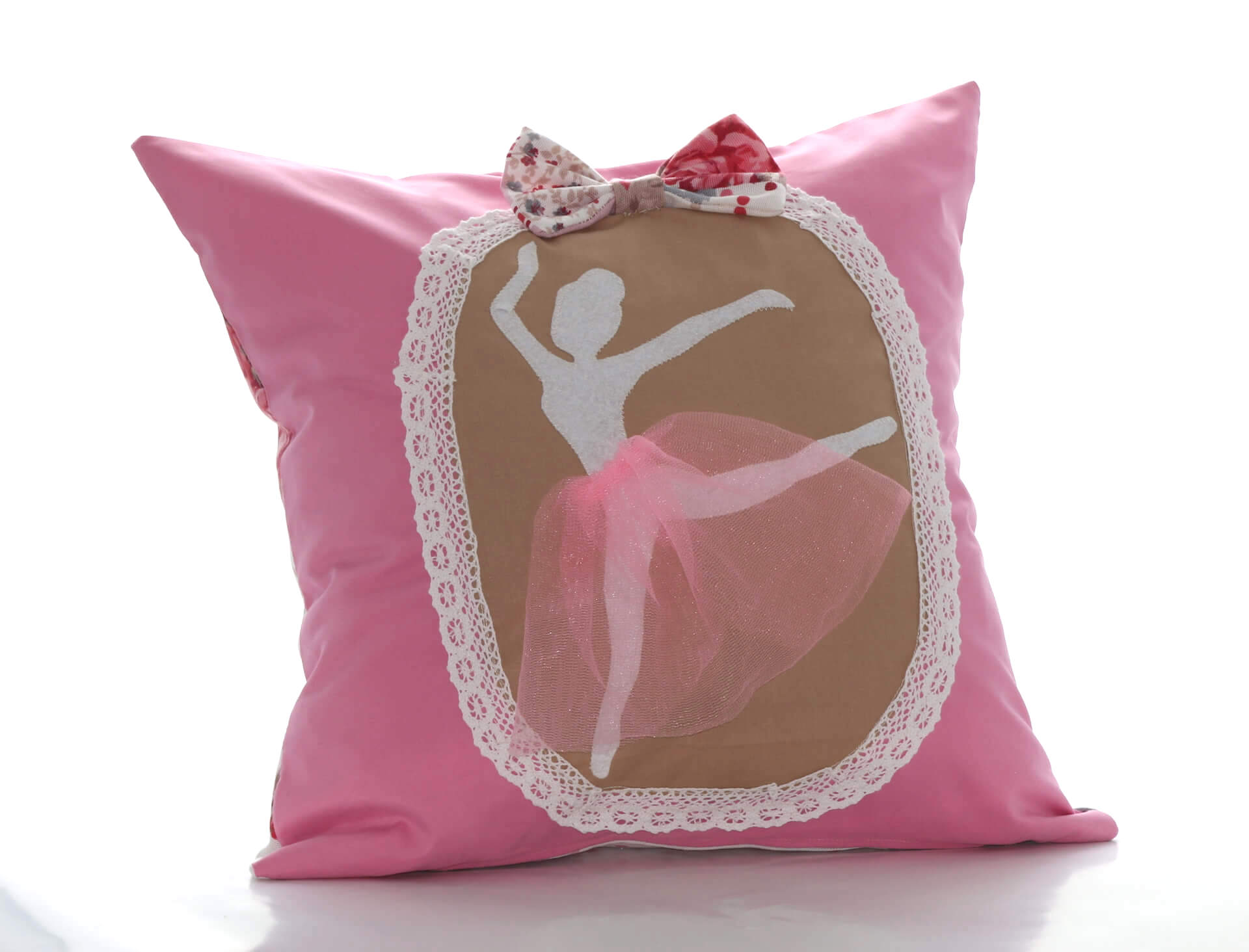 Handmade decorative pink pillow with ballerina