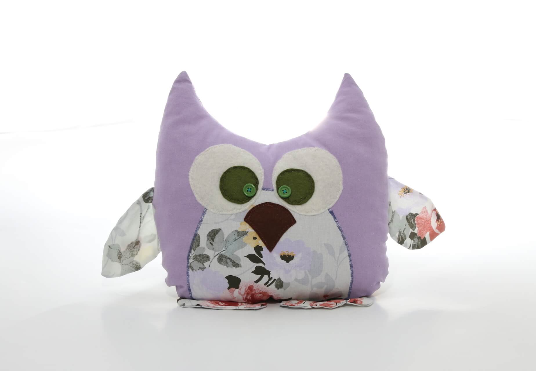 Handmade decorative pillow Purple Owl shape