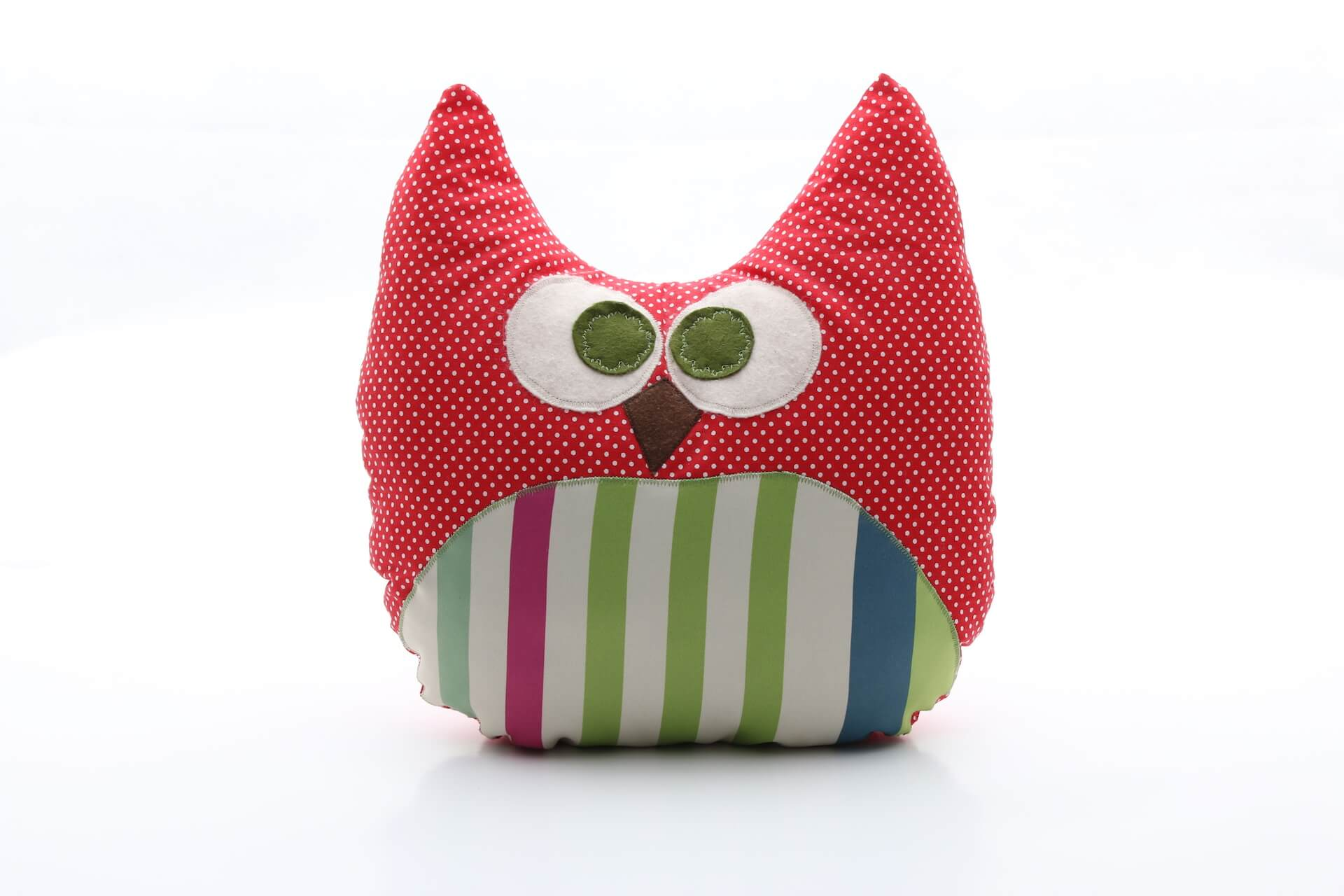 Handmade decorative Red Owl with striped design