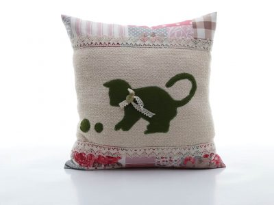 Handmade decorative pillow with green cat