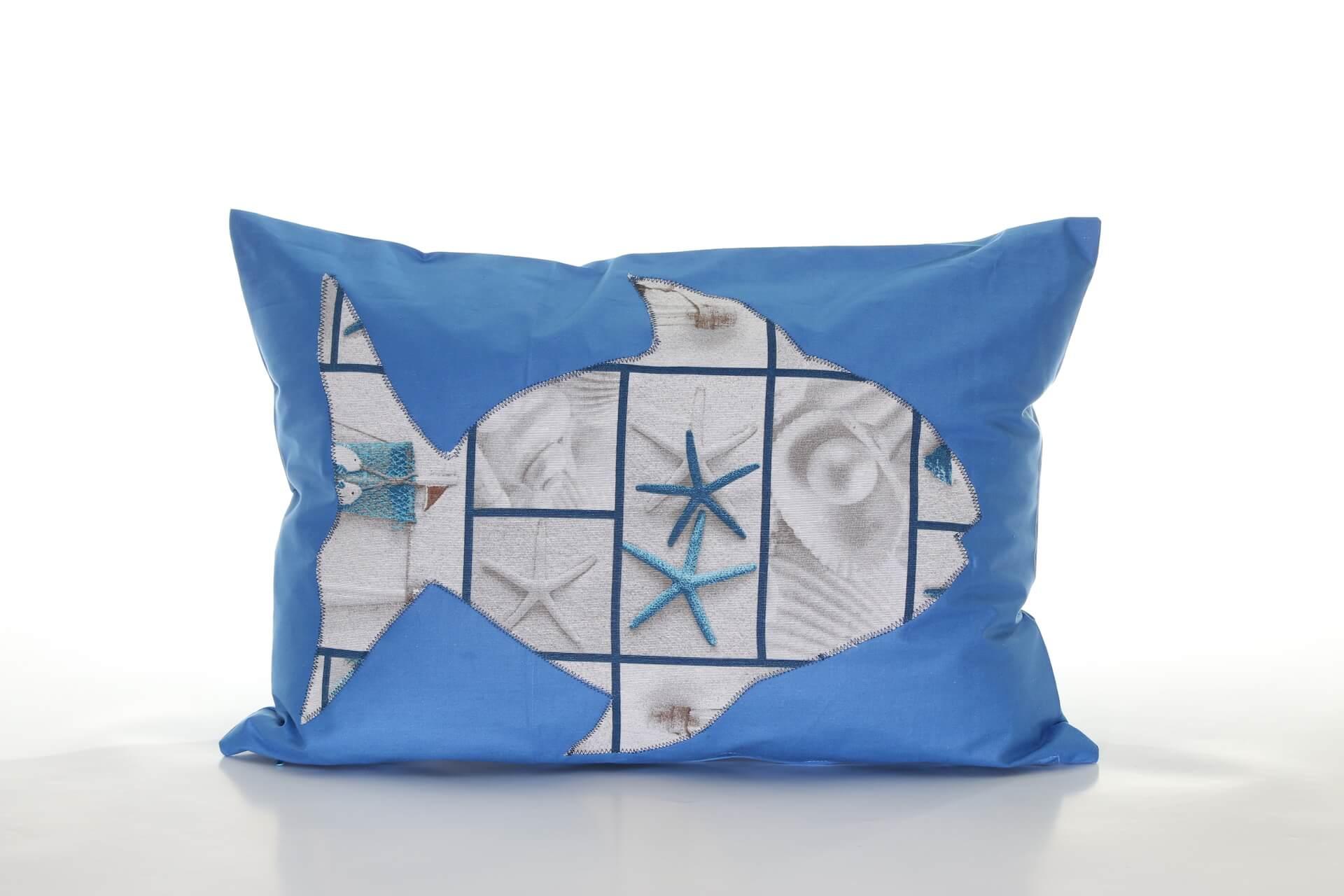 Handmade decorative pillow with fish and starfish