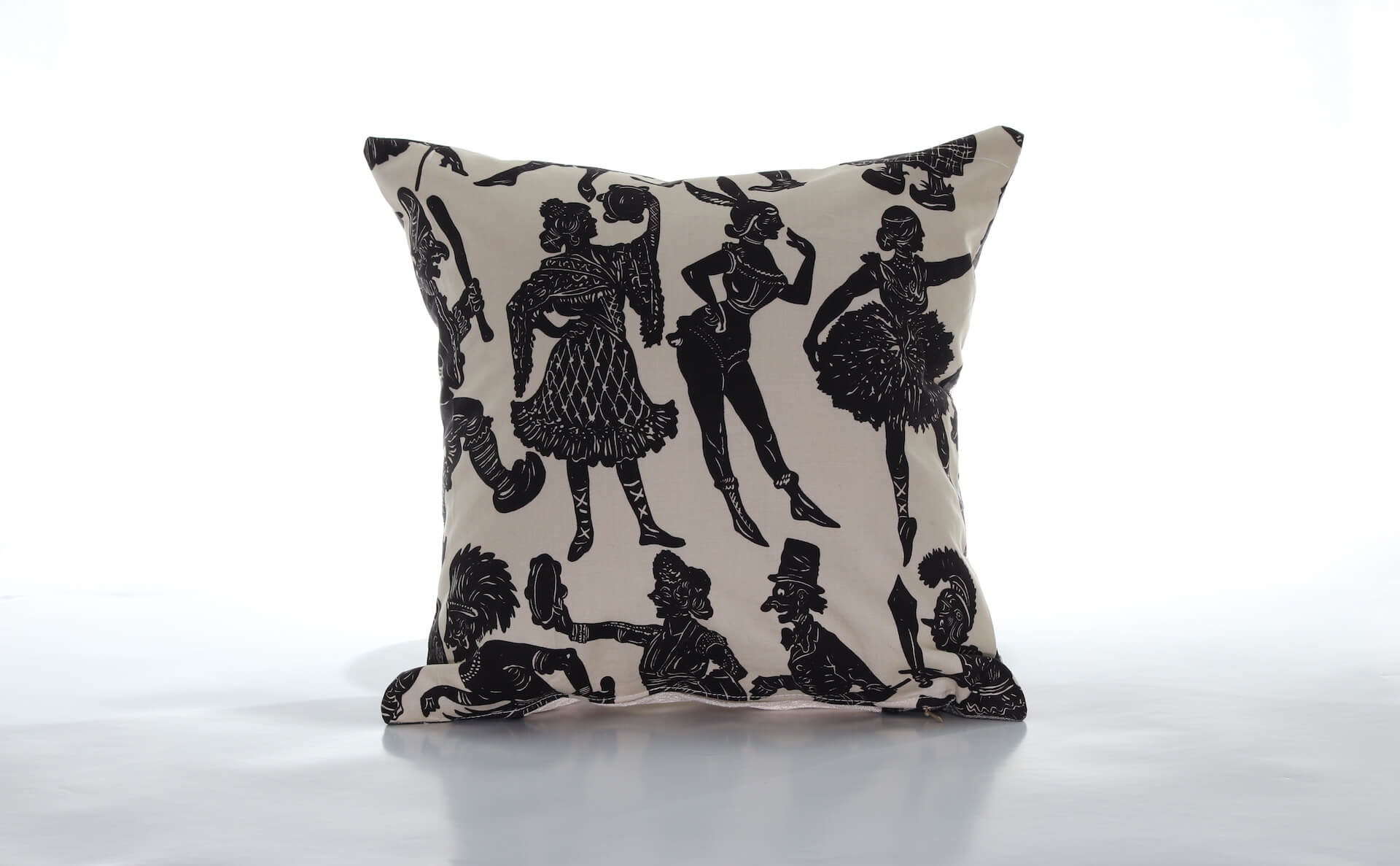 Handmade decorative pillow black and white Lady