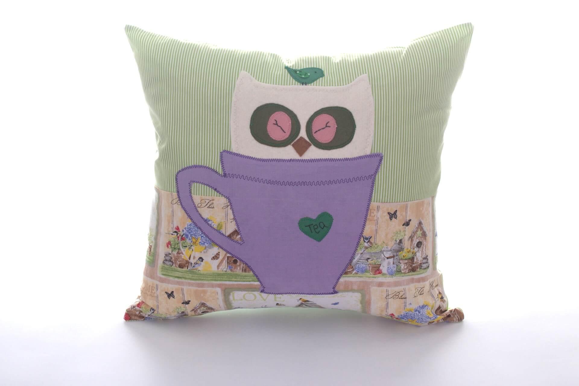 Decorative Pillows Homemade : Handmade decorative pillow Owl in Cup, 40x40 cm - Bowema