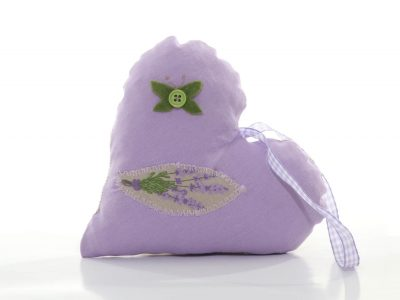 Handmade heart-shaped decoration with lace and printed lavender