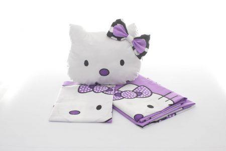 Lenjerie pentru pătuţ din bumbac Hello Kitty și pernă decorativă Hello Kitty