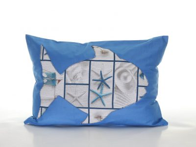 Handmade decorative pillow with fish and starfish