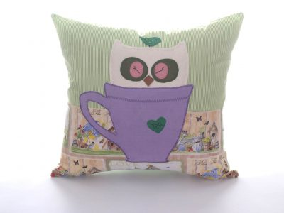 Handmade decorative pillow Owl in Cup