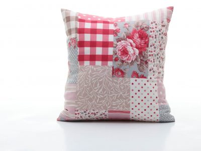 Handmade decorative pillow with floral print