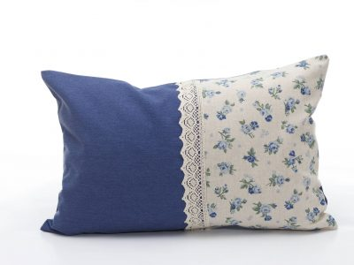 Handmade decorative pillow with blue roses