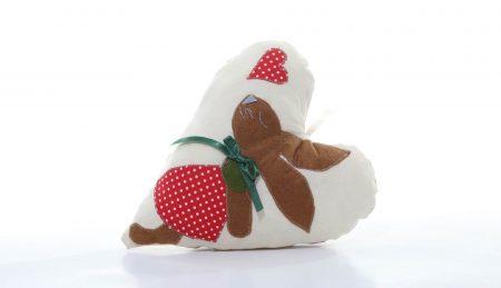 Pernă decorativă handmade în formă de inimă Iepurașul îndrăgostit