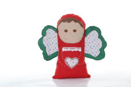 Pernă decorativă handmade Îngeraș roșu