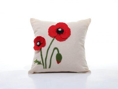 Pernă decorativă handmade Maci roșii