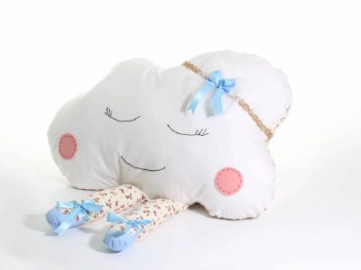 Handmade decorative pillow white and blue Cloud