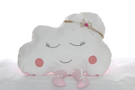 Pernă decorativă handmade Norişor alb cu roz
