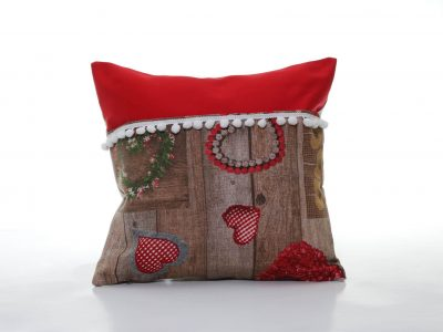 Pernă decorativă handmade roșie cu buzunar