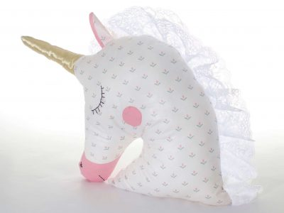 Handmade decorative pillow white and pink Unicorn