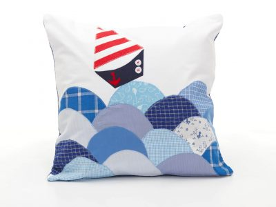 Handmade decorative pillow The Boat in Waves