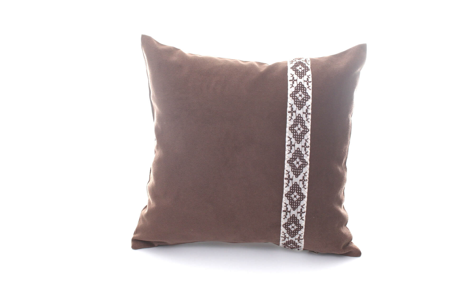 Handmade decorative pillow Brown with traditional belt