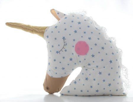 Pernă decorativă handmade Unicorn Blue sky, 40x40 cm