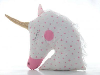 Pernă decorativă handmade Unicorn Pink stars, 40x40 cm