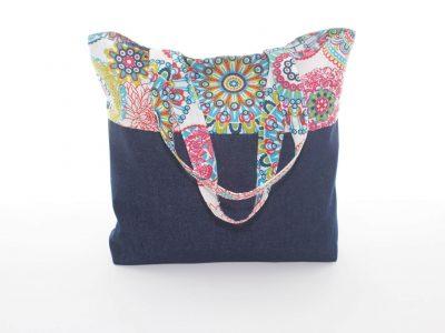 Geantă handmade Floral jeans