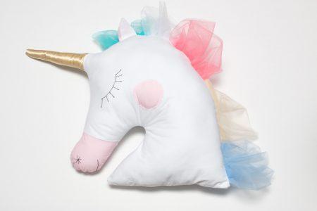 Pernă decorativă handmade Unicorn Pure White, 40x40 cm