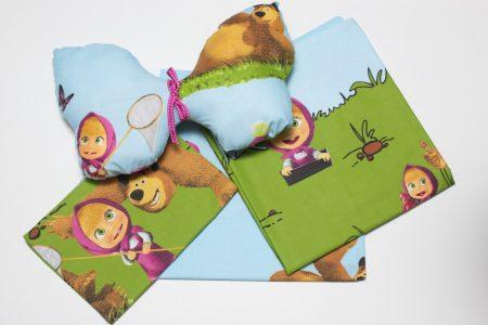 Lenjerie pentru pătuţ din bumbac pernă decorativă Masha şi Ursul