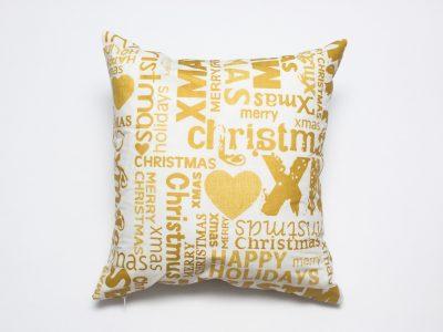 Pernă decorativă handmade Craciun auriu, 40x40 cm