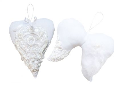 Set Ornamente handmade Pure white