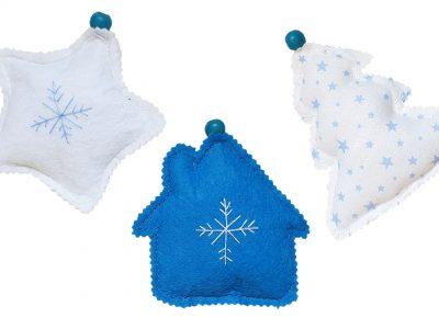 Set ornamente handmade pentru bradul de Craciun - Albastru si alb