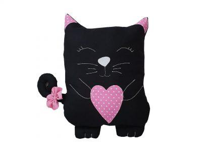 Pernă decorativă handmade Pisica Neagra cu roz